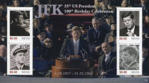 Nevis 2017 MNH JFK John F Kennedy 100th Birthday 4v M/S II US Presidents Stamps