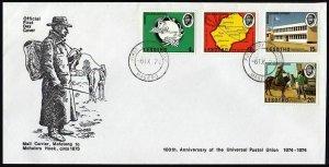Lesotho 166-169,FDC.Michel 166-169. UPU-100,1974.Map,Horseback mailman.P.O.