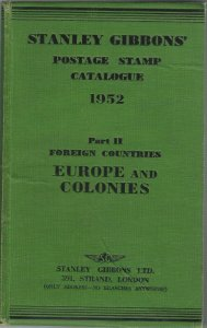Stanley Gibbons 1952 Stamp Catalogue, Europe & Colonies