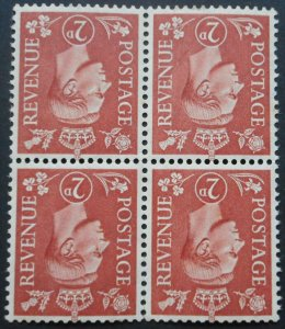 Great Britain 1951 GVI Two Pence block with inverted wmk SG 506Wi u/mint