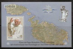 MALTA SGMS1665 2010 VISIT OF POPE BENEDICT M/SHEET MNH