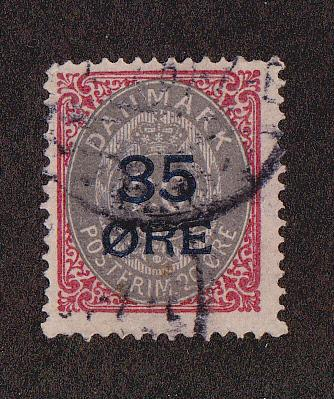 Denmark # 80, Used with small thin, 10% of Cat.