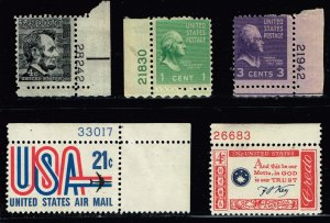 US STAMP MNH STAMP Pl# STAMPS COLLECTION LOT