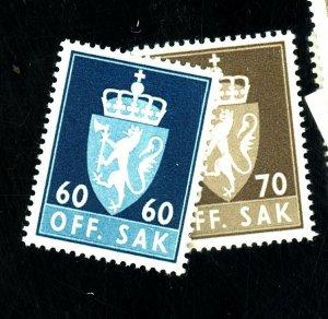 NORWAY #O75-6 MINT FVF OG O75 NH O76 LH Cat $23