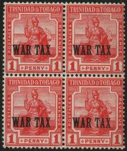 TRINIDAD & TOBAGO-1917 1d Red War Stamp Block of 4 Sg 176 3 unmounted MM V48547