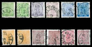 SWEDEN-a-1855-1904 ISSUES (to 66) 6-12  Used (ID # 83293)- L