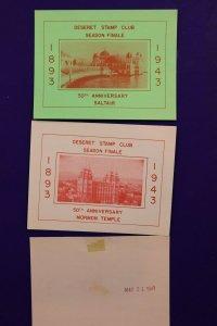 Deseret Stamp Club 1943 SALTAIR Philatelic Souvenir label sheet SS SLC UT