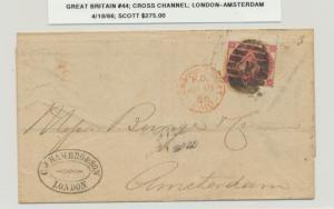 GB- AMSTERDAM 1866 COVER, 3d PL4 RATED AMSTERDAM RECVR (SEE BELOW)