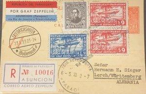 A) 1933 PARAGUAY, ZEPPELIN, VÍA RIO DE JANEIRO, DE ASUNCION A ALEMANIA CON CANCE