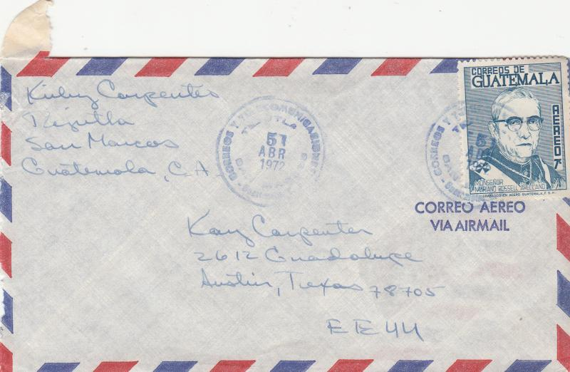 Guatemala C343 Used On Airmail Cover