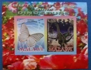 Malawi 2008 Dinosaur Butterfly Prehistoric Animals Insect M/S Stamps (1) imperf
