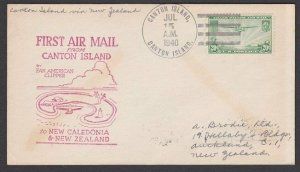 GILBERT & ELLICE IS US PO 1940 first flight cover Canton Is to NZ...........Q499
