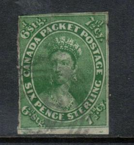 Canada #9a Used Fine Deep Color With A Trifle Thin