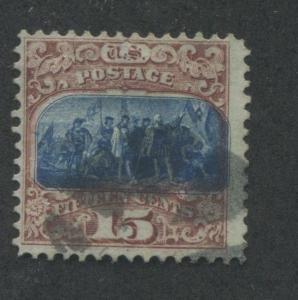 1869 US Stamp #119 15c Used F/VF type II Catalogue Value $200