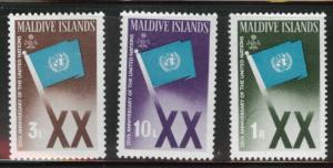 Maldives Scott 164-166 MH* 1965 UN Flag set