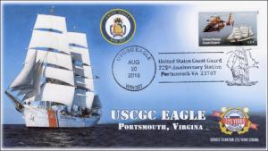 2015, USCGC Eagle, Pictorial Postmark, 225th Anniev, Portsmouth VA, 15-217