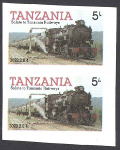 Tanzania Sc# 271 MNH pair IMPERF (ERROR) 1985 5sh Locomotives
