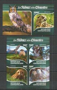 CA333 2015 CENTRAL AFRICA FAUNA BIRDS OWLS LES HIBOUX CHOUETTES KB+BL MNH