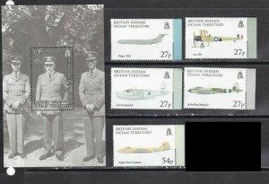 BIOT 2009 military war aviation airships planes set+s/s MNH
