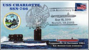 19-344, 2019, USS Charlotte, Pictorial Postmark, Event, Navy, SSN-766, 25th Anni