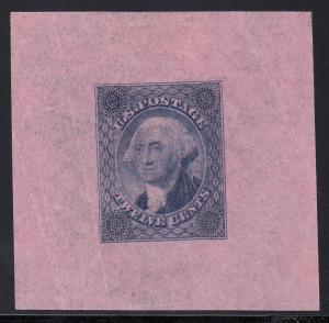 #69-E3p DIE I ESSAY ON THIN PINK WOVE, BLUE XF-SUPERB WL3482