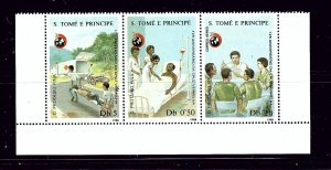 St Thomas and Prince 848 MNH 1988 Red Cross Strip of 3
