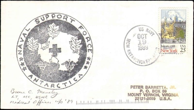 1989 US NAVY ANTARCTIC MEDICAL SUPPORT CACHET  + SIGNED