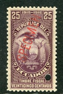 ECUADOR; Early 1900s fine Fiscal issue Mint MNH unmounted SPECIMEN 25c.