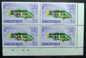 GRENADA 1974 SC# 530 Fish Flowers Independence Ovrpt Gutter Sniper Block x 4 MNH