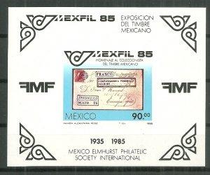 1985 Mexico 1385 Mexifil Stamp Expo souvenir sheet MNH SCV$3.50