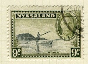NYASALAND; 1945 early GVI issue fine used 9d. value