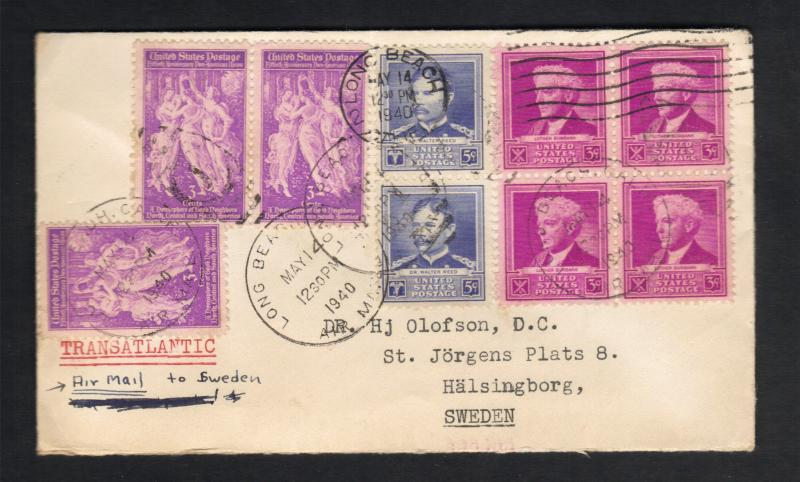 1940-US Postal Cover (1) Block And Multi-Paired Sc#876 And Sc#877 Amer.Scientist