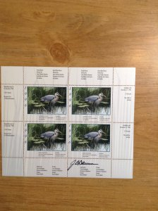 Canada ( Quebec Wildlife ) DQ 17  (QW 9 )  Mint  Sheet of 4 Artist signed