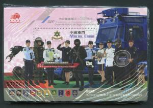 MACAU POLICE SOUVENIR SHEET LOT OF 100 SEALED PACK  MINT NH