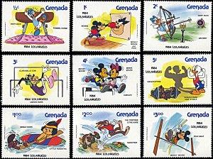 Grenada 1185-1193, MNH, Disney Los Angeles Olympics