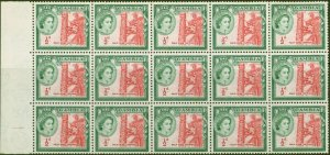 Gambia 1953 1/2d Carmine-Red & Bluish Green SG171 Superb MNH Block of 15