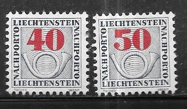 Liechtenstein #J27-J28   (MLH)  CV $5.00