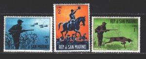 San Marino. 1962. 739-41. Hunting, dogs. MNH.