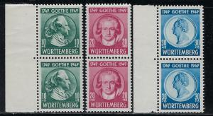 Germany - under French occupation Scott # 8NB9 - 8NB11, mint nh, pairs