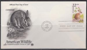 2290 American Wildlife Cottontail Unaddressed ArtCraft FDC