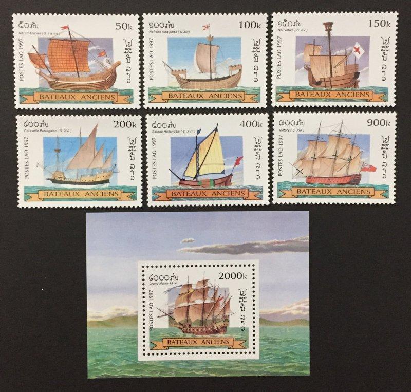 Laos 1997 #1348-54, Sailing Ship's, MNH.