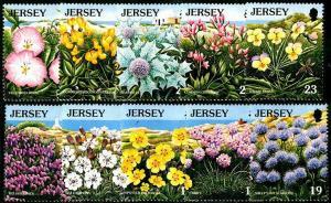 HERRICKSTAMP JERSEY Sc.# 717-26 Wild Flowers Strip of 5 Diff.