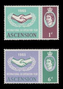 ASCENSION ISLAND 1965. SCOTT # 94 - 95. UNUSED SET.
