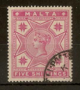 Malta 1886 QV 5/- SG30 Fine Used Cat£80