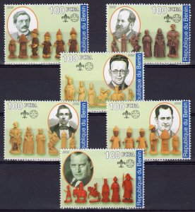 Benin 2002 HISTORY OF CHESS Set  (6) Perforated MNH