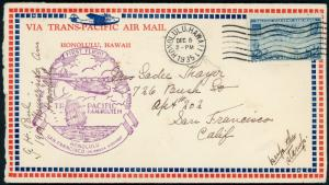 Hawaii Cover  ~ Trans Pacific Airmail  Honolulu 1935  ~  S5040