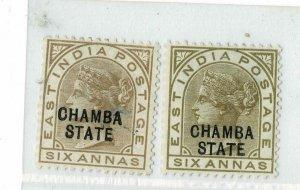 India - Chamba - QV 1887 - 6A  - 2 shades  - SG12/13 - Mint Hinged hcv