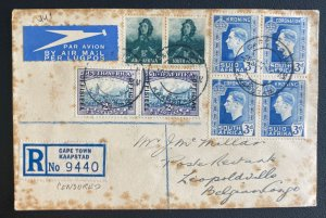 1942 Cape Town South Africa Early Airmail Cover to Leopoldoville Congo Belge