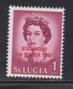 ST LUCIA Scott # 182 MH - Overprinted Statehood 1st March 1967 Red OP
