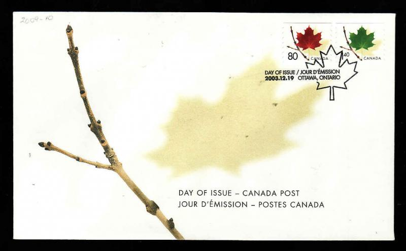 Canada-Sc#2009-10-stamps on FDC-80c & $1.40 Coils-2003-